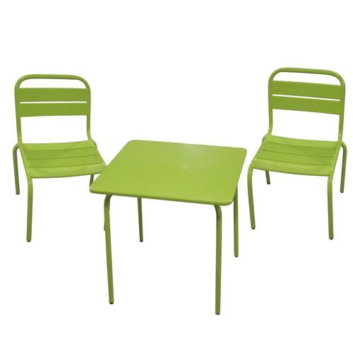 ensemble repas pour enfant bayamon 3 pices table 2 chaises mtal vert toilinux - Table Et Chaise De Jardin Pour Enfant