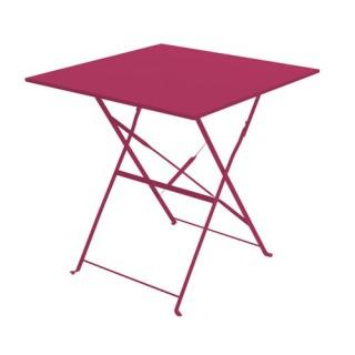 Table de jardin pliante Camarque - 70 x 70 cm - Rouge framboise