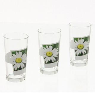 3 verres décorés Zen - Fleurs - En verre