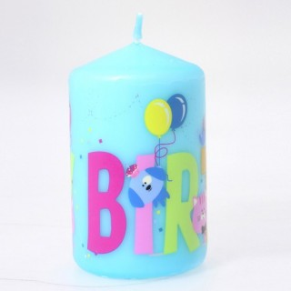 Bougie anniversaire ronde - Turquoise