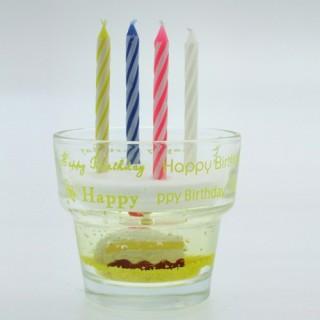 Bougies et verre Gateau anniversaire - Jaune