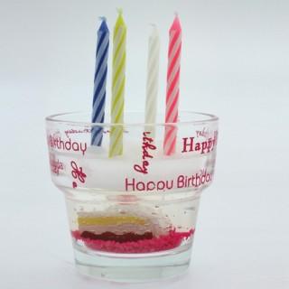 Bougies et verre Gateau anniversaire - Rose