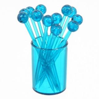 12 piques à cocktails sur support Tonic - Bleu