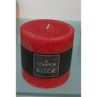 Bougie ronde Rustic - Diam. 10 cm - Rouge