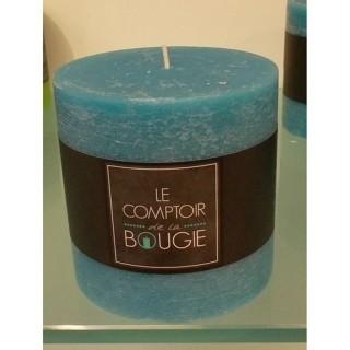 Bougie ronde Rustic - Diam. 10 cm - Bleu