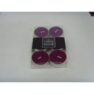 Lot de 6 bougies colorées - Diam. 3,8 cm - Prune