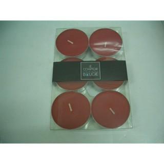 Lot de 6 bougies colorées - Diam. 5,9 cm - Rouge