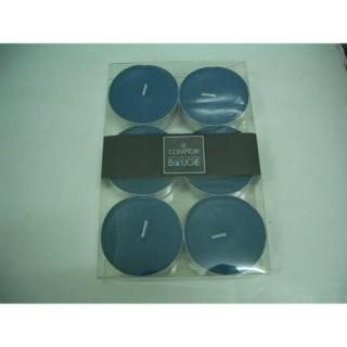 Lot de 6 bougies colorées - Diam. 5,9 cm - Bleu
