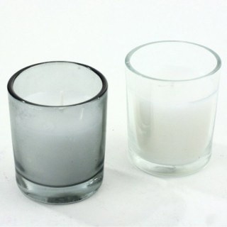 Lot de 2 bougies en pot de verre - Blanc et Gris