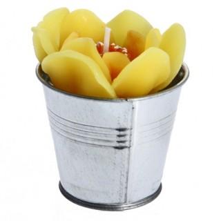 Bougie en forme de fleur - Pot en Zinc - Jaune