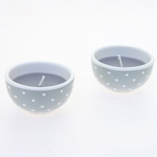 Lot de 2 bougies avec imprimés motif cercles - Gris