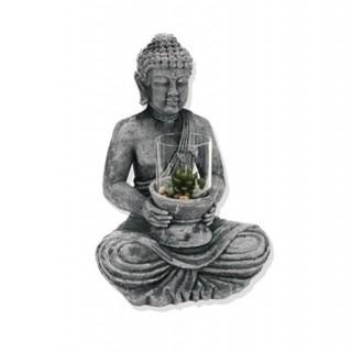 Statuette Bouddha avec photophore - Ciment