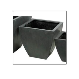 Pots de fleurs jardinière - Fibre de pierre - Gris - Haut. 38 cm