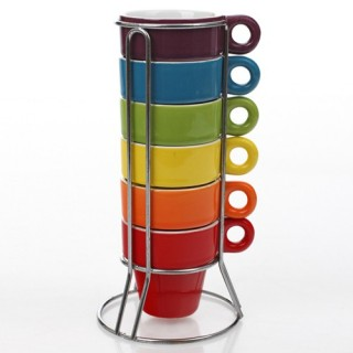 6 tasses expresso empilables avec support - So city