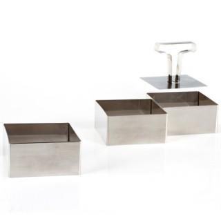 3 Présentoirs de cuisine carrés - Inox
