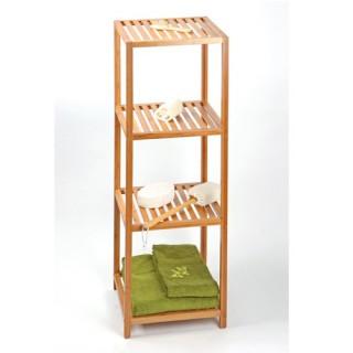 Etagère 4 niveaux de rangement pour salle de bain - Gamme Bambou
