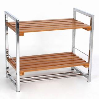 Etagère 2 niveaux de rangement pour salle de bain - Bambou et métal