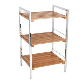 Etagère 3 niveaux de rangement pour salle de bain - Bambou et métal