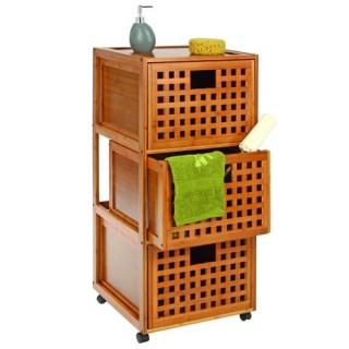 Meuble de salle de bain à roulettes - 3 tiroirs - Gamme Bambou
