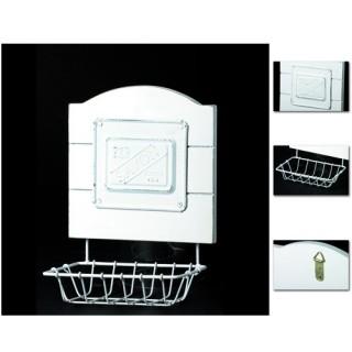 Porte-savon de salle de bain Méditerranée - Bois peint et Métal rétro - Blanc