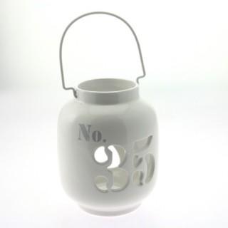 Lanterne rétro en céramique avec chiffres - Blanc