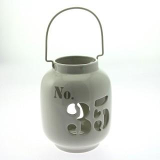 Lanterne rétro en céramique avec chiffres - Beige