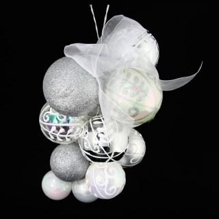 Lot de 15 boules de noël Grappe - Argent et blanc