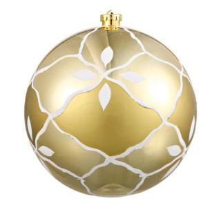 Boule de noël décorée - Diam. 190 mm - Or et blanc