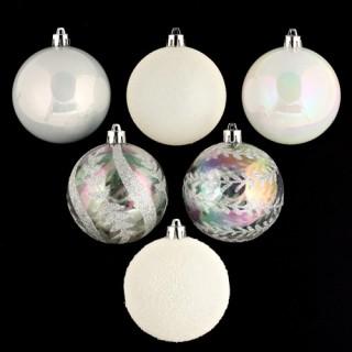 Lot de 6 boules de noël - Diam. 80 mm - Blanc et argent