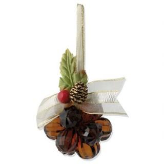 Fleur de noël en acrylique 12 perles - Ambre