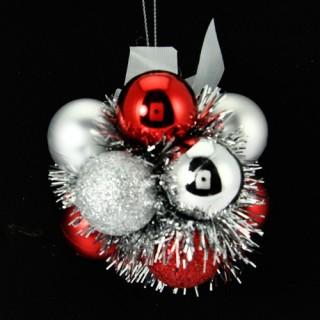 Fleur de Noël - Rouge et argent