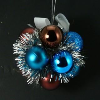 Fleur de Noël - Turquoise, chocolat et argent