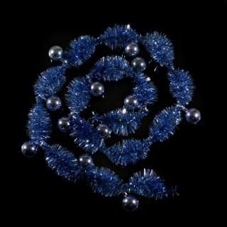 Guirlande de noël Pompon - 12 boules - Bleu glacier