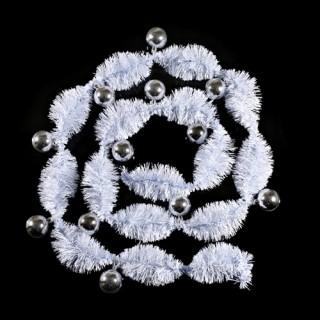 Guirlande de noël Pompon - 12 boules - Blanc et argent