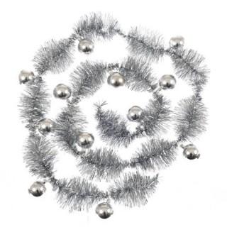 Guirlande de noël Pompon - 12 boules - Argent