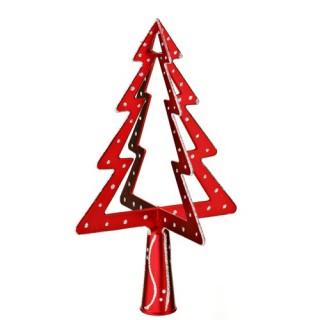 Cimier 3D de sapin de Noël - Sapin - Modèle 1 - Rouge et argent