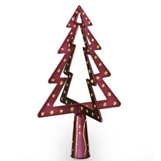Cimier 3D de sapin de Noël - Sapin - Modèle 1 - Or et Violet