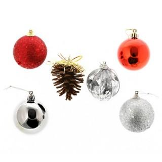 Kit de décorations pour sapin de Noël - 24 pièces - Rouge et argent