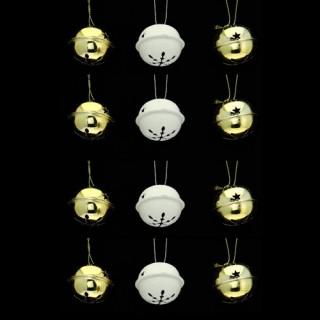 Lot de 12 grelots brillants - Or et blanc