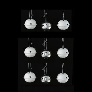Lot de 12 grelots brillants - Blanc et argent