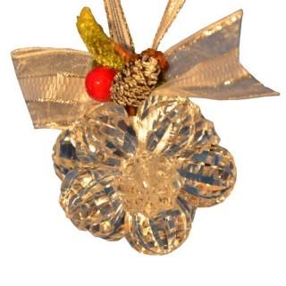 Fleur de noël en acrylique 12 perles - Transparent