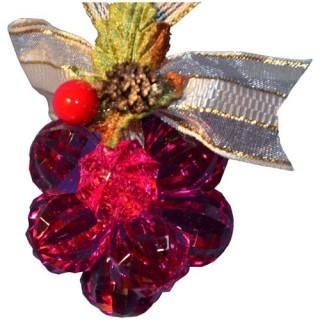 Fleur de noël en acrylique 12 perles - Framboise