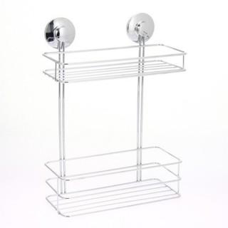 Etagère de salle de bain à ventouses - 2 Niveaux - Métal