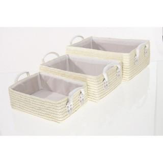 3 Paniers de salle de bain - Osier - Crème