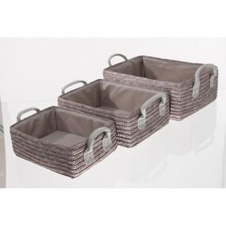 3 Paniers de salle de bain - Osier - Taupe