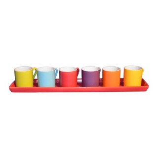 6 tasses à café avec cuillères sur plateau - Rose