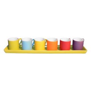 6 tasses à café avec cuillères sur plateau - Vert