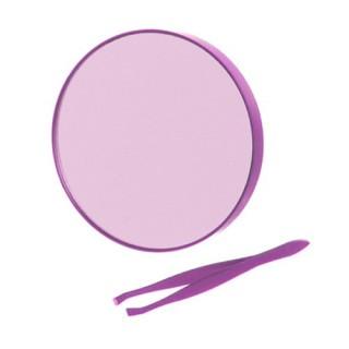 Miroir rond à ventouses et pince à épiler - Violet