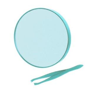 Miroir rond à ventouses et pince à épiler - Turquoise