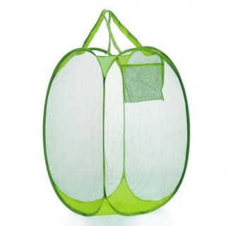 Corbeille à linge avec poche - Vert